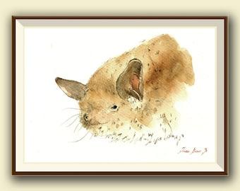 The long-fingered bat (Myotis capaccinii) -Bat art -  Original watercolor painting- Juan Bosco