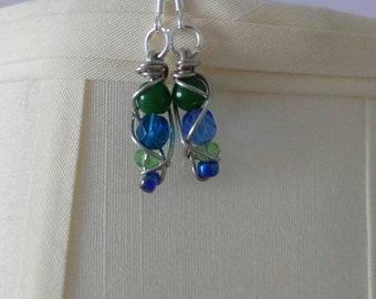 Wire wrapped blue beaded earrings