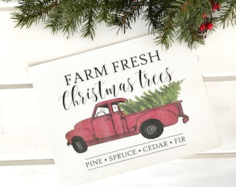 Farm Fresh Trees Red Truck Cotton Canvas Print   Wall Decor   Rustic   New Home   Christmas Gift   Farmhouse Winter
