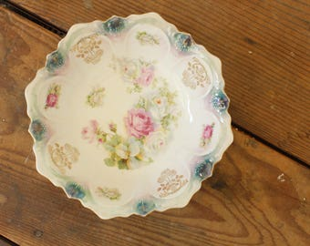Vintage China Serving Bowl Antique Bavarian Porcelain China Bowl Roses