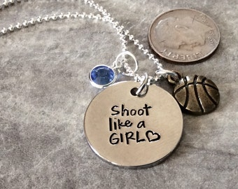 """Silver plated """"Shoot Like a Girl"""" necklace, basketball pendant or charm, personalized with birthstone sport necklace,  basketball"""