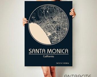 SANTA MONICA California CANVAS Map Santa Monica California Poster City Map Santa Monica California Art Print Santa Monica California