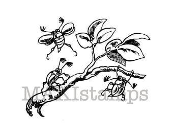Garden stamp / Tiny chafers on a branch / Wilhelm Busch / Unmounted stamp or cling stamp (131003)