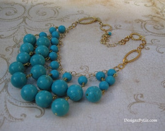 The Belize, turquoise bib necklace