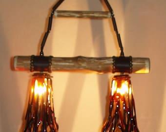 Light Fixture Fused Glass Logs n' Twigs