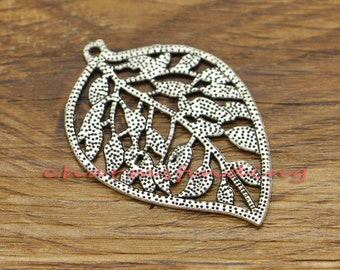 12pcs Large Leaf Charms Tree Leaf Charms Double Sided Antique Silver Tone 27x39mm cf2567