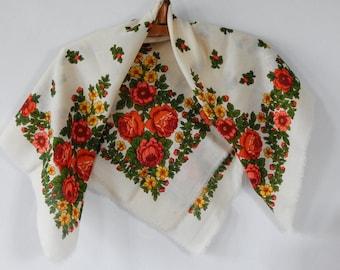 Traditional Russian Shawl, Vintage Flower Shawl Folk, Light wool Shawl, Bright Accessory, Soviet era 1970-s. Made in USSR Unused