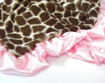 Pink Giraffe Minky Baby Blanket for a Baby Girl