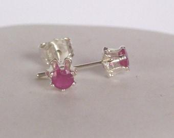 Ruby gesmtone Earrings - Ruby Gemstone  Stud Earrings Post  - Sterling silver
