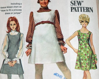 """UNCUT, Vintage, 1960s, Sewing Pattern, Simplicity 8008, Misses', Jumper or Dress and Blouse, Misses' size 12, Bust 34"""", OLD2NEWMEMORIES"""