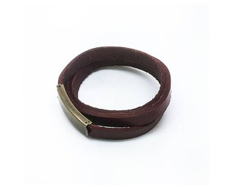 Wrap bracelet leather strap, Red