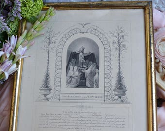 Rare antique french consecration to the Virgin Mary. Young nun's congregation admission. Madonna. Rustic French Nordic Jeanne d'Arc living