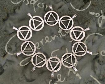 AA Charms / Unity Symbol Charms / Alcoholics Anonymous / Recovery Charms / Circle Triangle Charms /  Set of FIVE or TEN