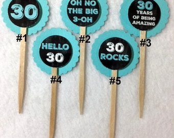 Set Of 12 30th Birthday Party Chalkboard & Teal Cupcake Toppers (Your Choice Of Any 12)