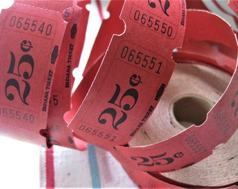 Tickets by the Roll, Red 25 Cent Tickets, Numbered