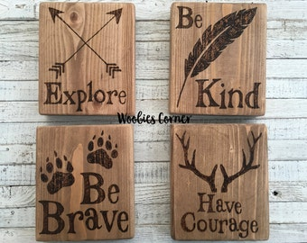 Woodland nursery decor, Nursery quotes, Rustic nursey sign, Woodland decor, Woodland nursery, Woodland Creature Nursery Signs, SET OF 4