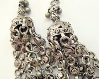 Vintage Yemeni Earrings, Silver Bedouin Temporals or Temple Decorations, Tribal Ethnic Jewelry