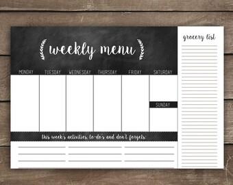 Weekly Menu Planner, Grocery List, To-Do List, Rustic Kitchen, Farmhouse Kitchen, Chalkboard