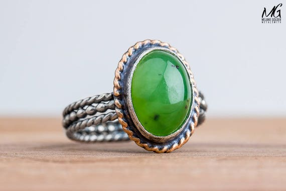 Moss Green Nephrite Jade Gemstone Ring in Oxidized Black Sterling Silver and 14K Gold Fill - Size 8