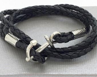 Mens anchor bracelet Navy on braided leather