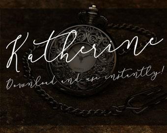 Katherine - Digital Fonts - Downloadable Handwritten font – Script font - Wedding font – Font Download – Instant Download - Vintage Font
