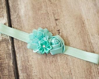 U CHOOSE Baby Headband  flower headband newborn girl hairbow bow headband Mint