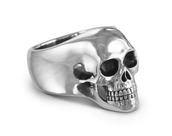 Tête de mort - crâne humain argent Antique bague - Memento Mori