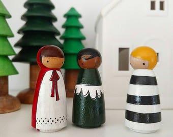 Folk Art Wooden Peg Dolls .... Woodland girls