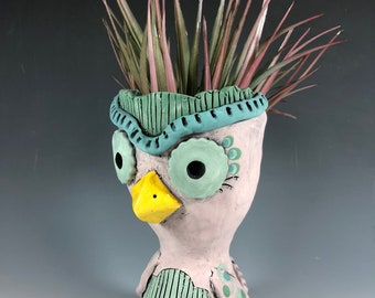 Sweetwater Owl // Small Sculpture // Succulent Pot // Owl Planter // Unique // Ceramic // Adorable // Pink // Green // Home Decor // Gift