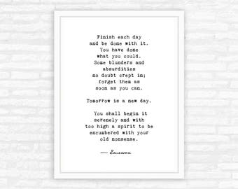 Emerson quote, Inspirational literary quote, typography art print, words of wisdom, Ralph Waldo Emerson