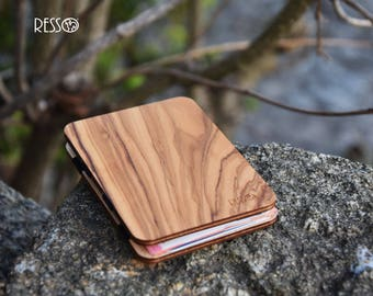 Wooden wallet, credit card wallet, men's wallet, slim wallet, modern design wallet, magic wooden wallet, wooden wallet, Olive wood