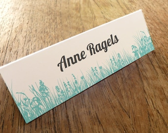 Printable Place Cards - Place Card Template - Instant Download - Place Card PDF - Download & Print - Turquoise Grass - Grey Lettering - DIY