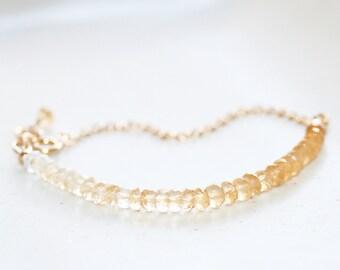Ombre Citrine Bracelet, 14K Gold Filled, November Birthstone, Shaded Yellow Gemstone, Beaded Bracelet, Stacking Bracelet, Gift for Wife