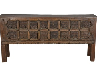 Teak Console Old Carving Raj Style Moroccan Style Hallway Table Sideboard