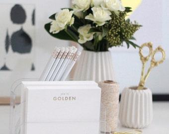 You're Golden Notecards - Gold Foil Letterpress Stationery - Set of 8 notecards and matching envelopes