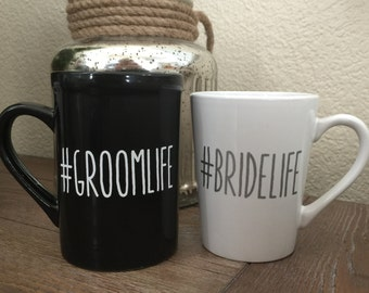 Bride and groom mugs-Engagement mug- personalized mug- wedding gift- Wedding- groom gift- Bridal Shower Gift-bride to be- bachelorette party