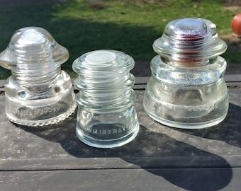 3 Hemingray Clear Glass Insulators No 45 20 10 Made in USA Molds 73-42 40-42 26-50 Electric Telephone Pole Insulator