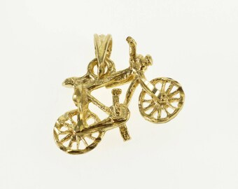 14k 3D Bicycle Bike Textured Pendant Gold