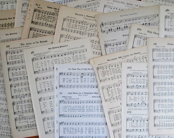 Vintage Hymnal Music Paper Book Paper 20 Pages 1908-1947
