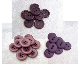 Purple Sew-Through Buttons, 19mm 3/4 inch - CHOOSE Moody Plum PL534, Midnight Plum PL595, Matte Royal PL597 - VTG NOS Purple Sewing Buttons