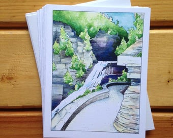 6 blank cards - Ithaca Gorges - Lucifer Falls at Treman State Park