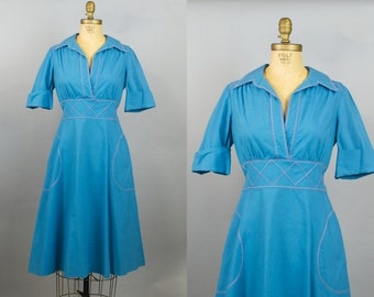 Billie Jean Dress / 70s Dress / 1970s Blue Cotton Summer Dress