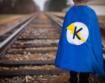 Superhero Cape Personalized with Mask, Reversible Lightening Bolt Kid's Cape, Birthday gift or Choose any Custom Super Hero Party Cape