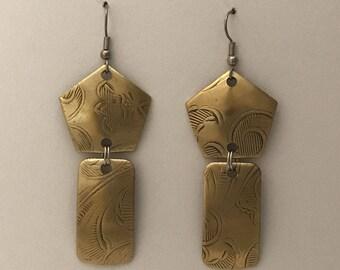 Two Piece Vintage Brass Earrings