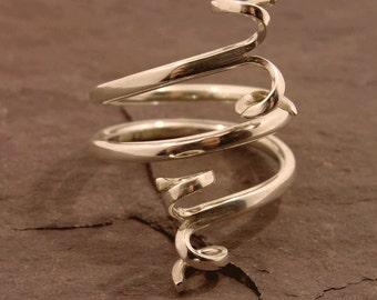 Spiral Ring, spiral ribbon ring, silver spiral ring, silver statement ring, assay hallmarked, 925 sterling silver, handmade