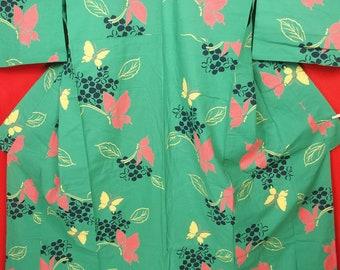 "JN309【Free Shipping】Vintage Japanese Kimono / ""YUKATA"" for Women / Butterflies clustered in flowers / Cotton"