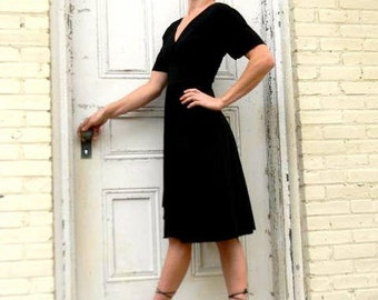 Organic Dress with Front & Back V - Custom Made Black Dress with 25 Colors to Choose From - Midi Cap Sleeve Dress