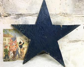 1940s Wooden Star Rustic Primitive Vintage Handmade Blue