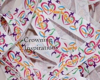 7/8 Christian Praise Be To God  US Designer ribbon