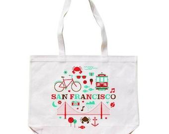 City Living Tote bag - San Francisco - California - Market bag - Reusable bag - Canvas tote - Shopping bag - Shoulder bag - Organic